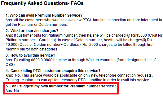 PTCL Premium Numbers FAQs